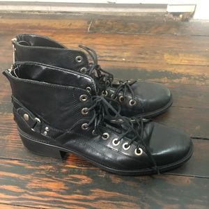 Zara | Black Leather Combat Boot | Size 41